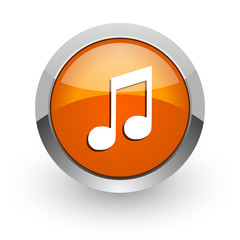 music orange glossy web icon