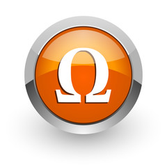 omega orange glossy web icon