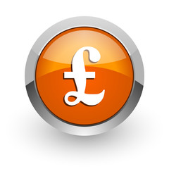 pound orange glossy web icon