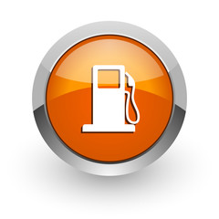 petrol orange glossy web icon