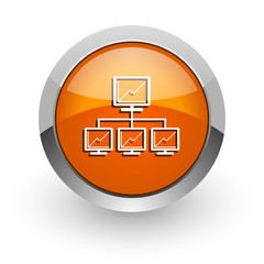 network orange glossy web icon