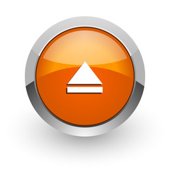 eject orange glossy web icon