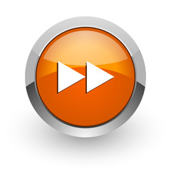 rewind orange glossy web icon