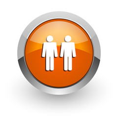 couple orange glossy web icon
