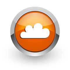 cloud orange glossy web icon