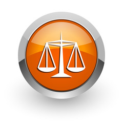 justice orange glossy web icon