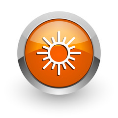 sun orange glossy web icon