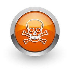 skull orange glossy web icon