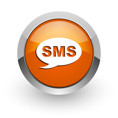sms orange glossy web icon