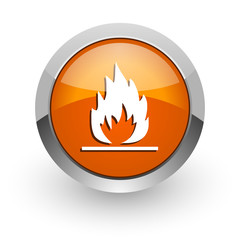 flame orange glossy web icon