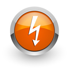 bolt orange glossy web icon