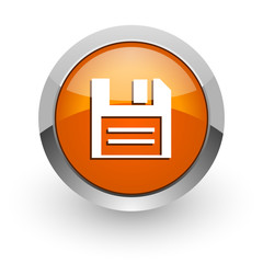 disk orange glossy web icon