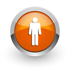 male orange glossy web icon