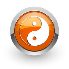 ying yang orange glossy web icon