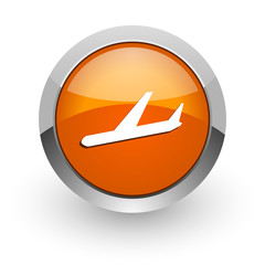 arrivals orange glossy web icon
