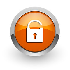 padlock orange glossy web icon