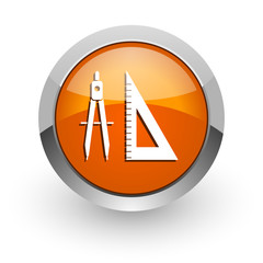 learning orange glossy web icon
