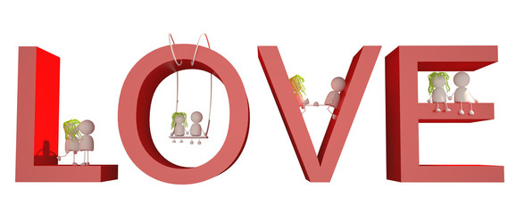 Couple Love Text 3D Character