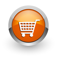cart orange glossy web icon