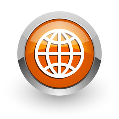 earth orange glossy web icon