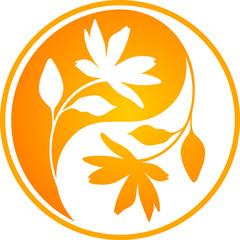 Orange floral Yin yang