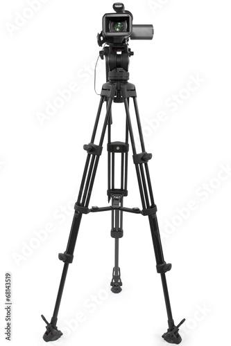 kamery produkcyjnej na statywie i samodzielnie na białym tle