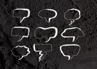 Speech Bubble background design on Cement wall texture backgroun