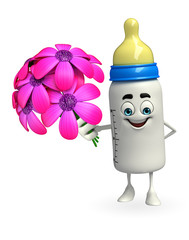 Baby Bottle character with flowers
