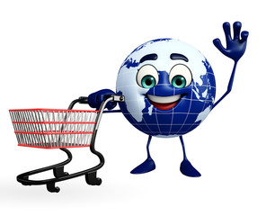 Earth Character with trolley