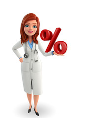 Young Doctor with percent sign