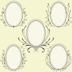 Oval Floral frames ornament
