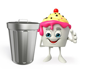 Ice Cream character with dustbin