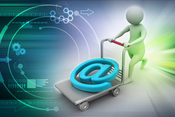 3d person with pushcart and e mail symbol