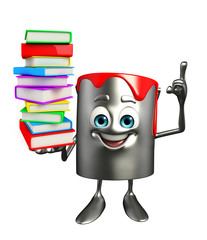 Paint Bucket Character with Books pile
