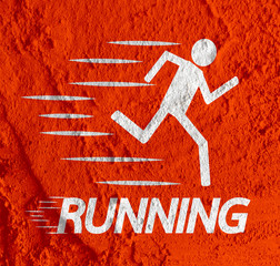 Running idea in Illustration on Cement wall texture background d