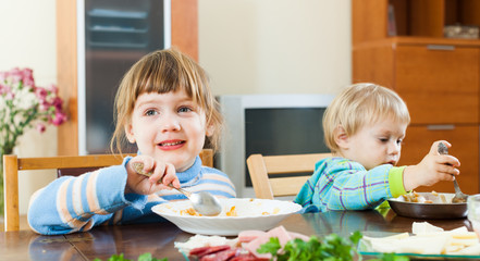 children eating food from plates