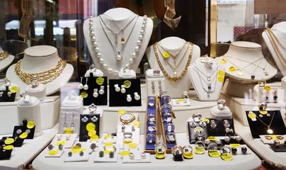 luxury golden jewelry in store window