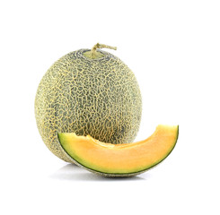 Netted melon on white background