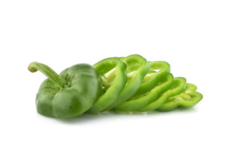 Green bell pepper isolated on white