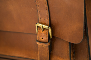 Detail of the leather bag