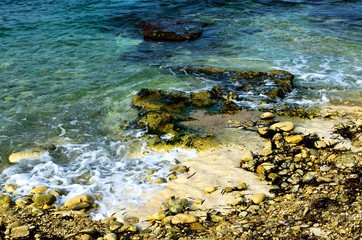 Rocky coast on the island of Malta.