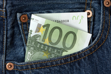 100 euro banknote in the pocket