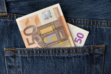 50 euro banknote in the pocket