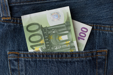 100 euro banknote in a pocket