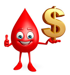 Blood Drop Character with dollar sign