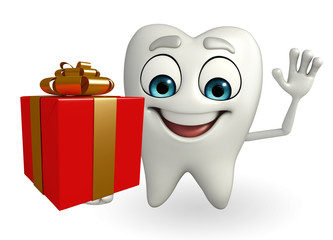 Teeth character with  gift box
