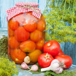 Homemade canned tomatoes in glass jar. Fresh vegetables, dill an