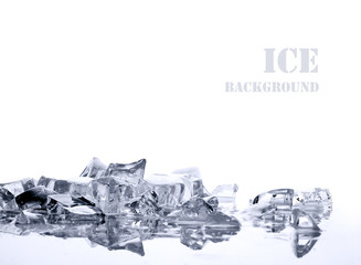 ice  on  white background
