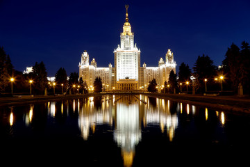 Lomonosov Moscow State University (at night), Russia