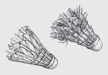 Old and new shuttlecock in sketch style
